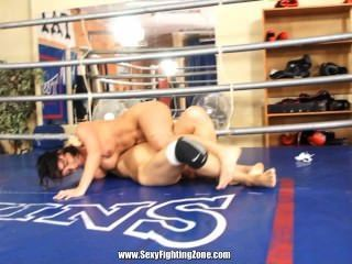 Breast-grabbing Nude Wrestling