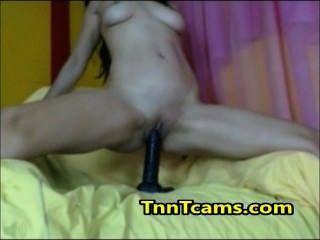 Wild Brunette Amateur Teen Black Dildo Riding On Webcam