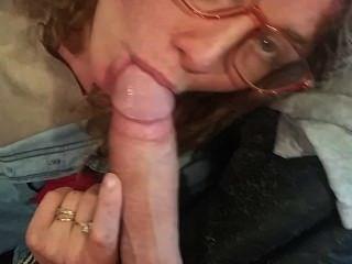 Sexy Redhead In Glasses Sucks My Cock