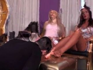 Brunette And Blonde Let Him Kiss Their Feet