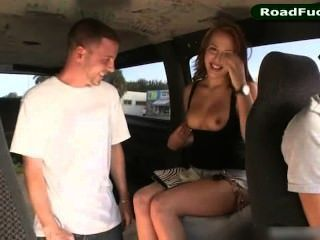 Pornstar Aubrey Mae Riding Cock On Backseat