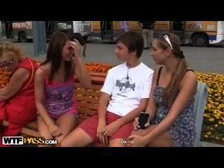 Teen Outdoor Threesome With Lucky Guy
