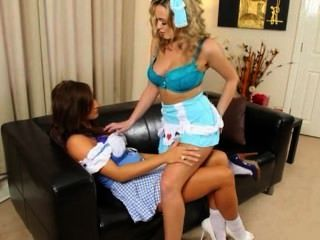 Blondie And Brunette Sisters Teasing Hot