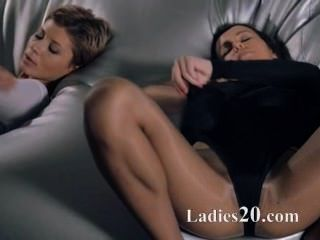 Babes In Pantyhose Fuck With Strap On