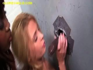 Brunette Sucking Black Cock At Gloryhole