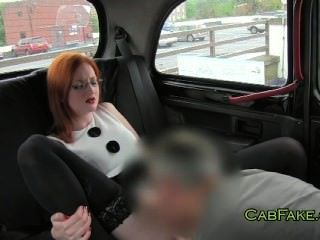Huge Breasts Redhead Fucked In Taxi