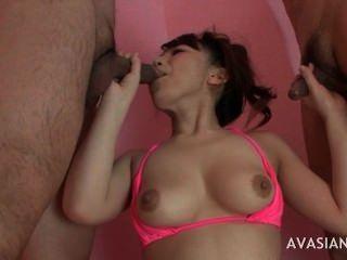Asian Slut Takes Two Cocks At The Same Time