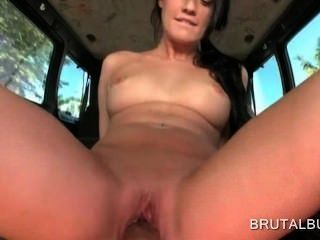 Hardcore Cock Riding In The Sex Bus With Hot Brunette