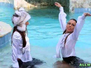 Hot Babes Teasing In Pool