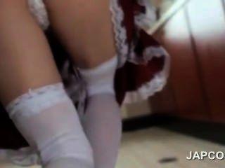 Cute Asian Maid Flashing Butt Upskirt Seduces Her Boss