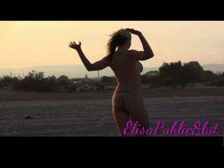 Having Fun With A Big Black Dildo On The Beach  Elisapublicslut.com