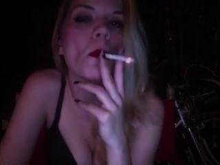 Blonde Lady Red Lips Huge Inhales Heavy Smoke