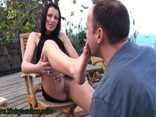 Mistress Sandra Outdoors Foot Worship