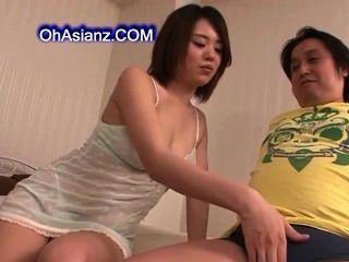 Hot Young Asian Babe Sucking Hard Cock