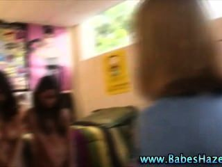 Blonde College Lesbo Toyed