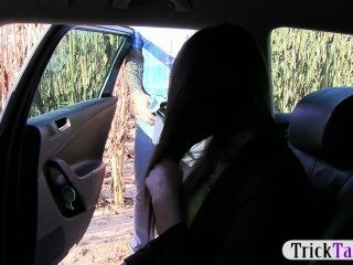 Taxi Driver Scams A Petite Foreign Teen Into A Blowjob