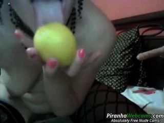 Hottest Amateur 19yo Brunette Teen Puts An Apple In Hers On Webcam