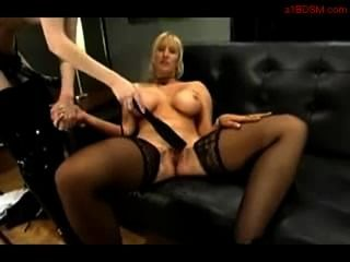 Mistress Fucks Blond With Strap On
