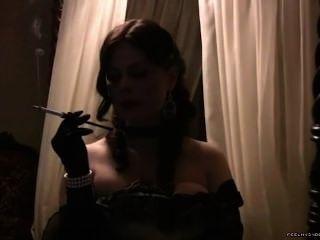 Girl Smoke With Holder