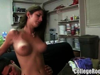 2 Hot College Chicks Are Fimed Riding Some Frat Dicks In The Dorm Party