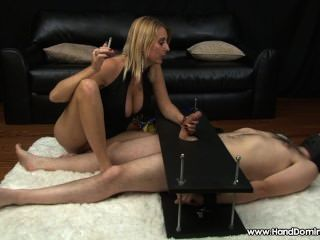 Blonde Bitch Smokes And Teases Erect Cock..