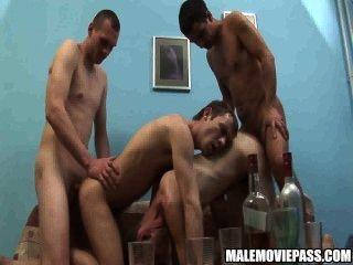 Four Horny Amateur Hunks Having Drunken Group Sex