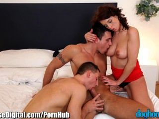 Doghouse Brunette Treats Herself With 2 Men