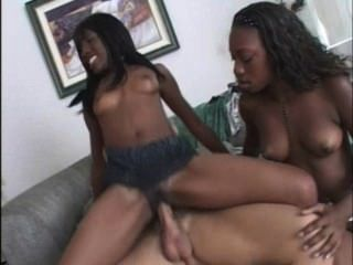 Horny Two Young Black Girl And A White Guy