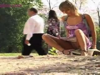 Blonde Teen Goes In The Outdoors For All To See