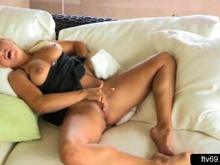 Busty Blond Dildos And Fingers For Orgasm In Solo Action