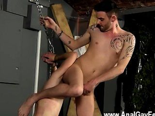 Hot Twink Aiden Can Do Nothing As Kinky And Masochistic Adam Circles Him,