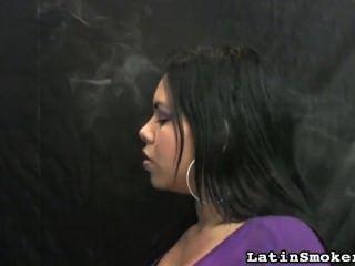 Thick Lips Girl Smokes A Cigarette