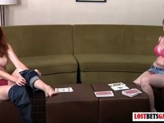 Girls Play A Card Game, Strip War