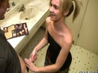 Blonde Gets A Cumblast In The Bathroom