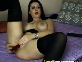 Sexy Brunette With Big Tits Dildo Her Pussy