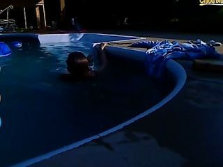 Brodie beats off cock around the pool